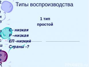Типы воспроизводства 1 тип простой С- низкая Р –низкая ЕП -низкий Страны -? 2 ти