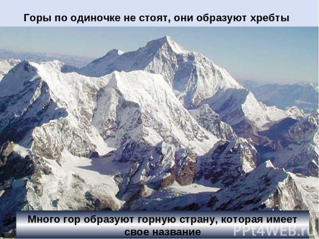 Горы по одиночке не стоят, они образуют хребты Много гор образуют горную страну, которая имеет свое название