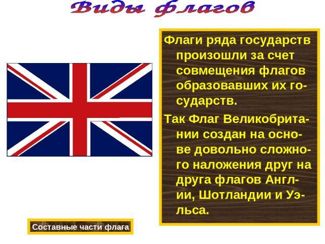 Флаги ряда государств произошли за счет совмещения флагов образовавших их го-сударств. Так Флаг Великобрита-нии создан на осно-ве довольно сложно-го наложения друг на друга флагов Англ-ии, Шотландии и Уэ-льса. Составные части флага