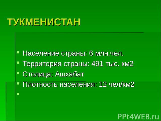 ТУКМЕНИСТАН Население страны: 6 млн.чел. Территория страны: 491 тыс. км2 Столица: Ашхабат Плотность населения: 12 чел/км2