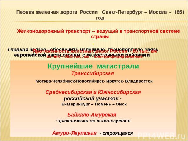 Первая железная дорога России Санкт-Петербург – Москва - 1851 год Железнодорожный транспорт – ведущий в транспортной системе страны . Главная задача –обеспечить надёжную транспортную связь европейской части страны с её восточными районами Протяжённо…