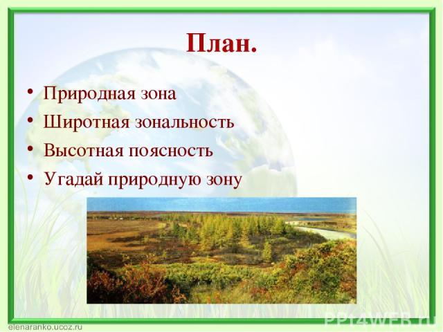 План. Природная зона Широтная зональность Высотная поясность Угадай природную зону