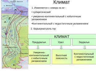 Климат Предуралья Урал Зауралья Умеренно- континентальный с избыточным увлажнени