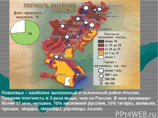 Поволжье – наиболее заселенный и освоенный район России. Средняя плотность в 3 р
