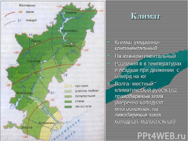 Климат Климат умеренно- континентальный На юге-континентальный Различия в в температурах и осадках при движении с севера на юг Волга- местный климатический рубеж (на правобережье зима умеренно холодная, многоснежная, на левобережье-зима холодная, ма…