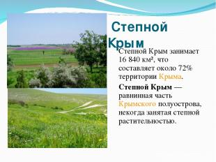 Степной Крым Степной Крым занимает 16 840 км², что составляет около 72% территор