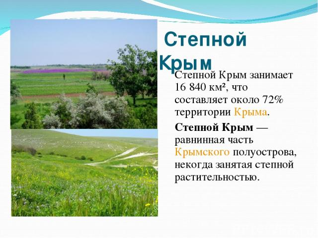 Степной Крым Степной Крым занимает 16 840 км², что составляет около 72% территории Крыма. Степной Крым — равнинная часть Крымского полуострова, некогда занятая степной растительностью.
