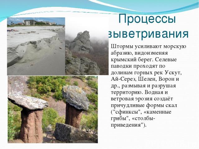 Процессы выветривания Штормы усиливают морскую абразию, видоизменяя крымский берег. Селевые паводки проходят по долинам горных рек Ускут, Ай-Серез, Шелен, Ворон и др., размывая и разрушая территорию. Водная и ветровая эрозия создаёт причудливые форм…
