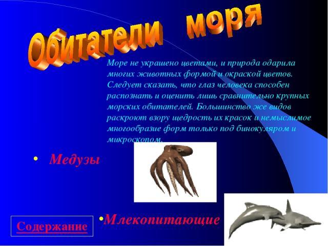 Медузы Млекопитающие Море не украшено цветами, и природа одарила многих животных формой и окраской цветов. Следует сказать, что глаз человека способен распознать и оценить лишь сравнительно крупных морских обитателей. Большинство же видов раскроют в…