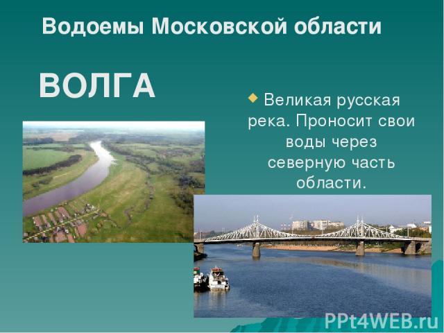 Великая русская река. Проносит свои воды через северную часть области. ВОЛГА Водоемы Московской области