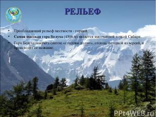 РЕЛЬЕФ Преобладающий рельеф местности - горный. Самая высокая гора Белуха (4506