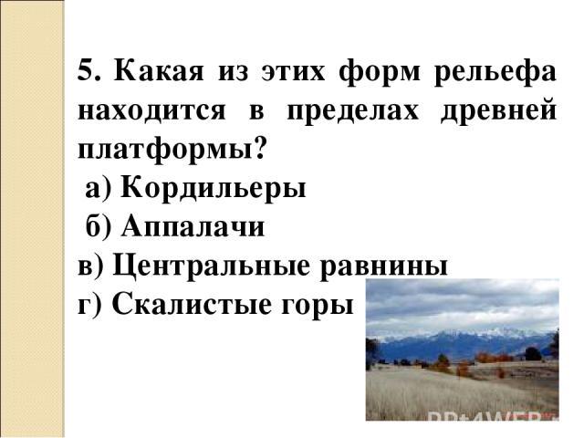 5. Какая из этих форм рельефа находится в пределах древней платформы? а) Кордильеры б) Аппалачи в) Центральные равнины г) Скалистые горы