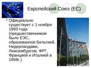 Европейский Союз (ЕС) Официально существует с 1 ноября 1993 года (предшественник