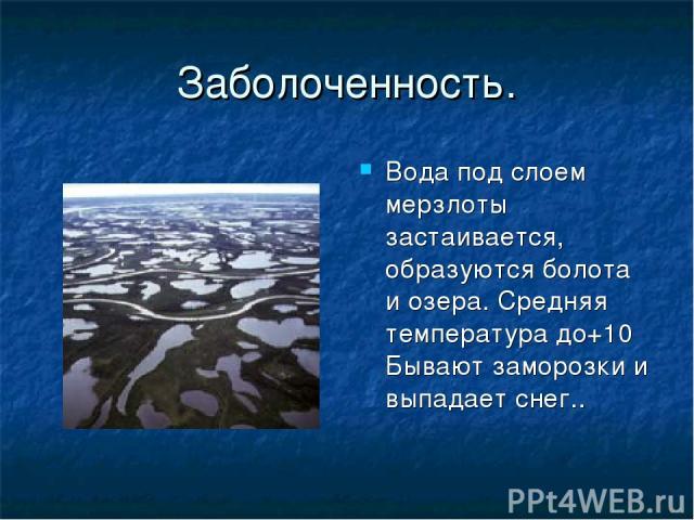 Заболоченность. Вода под слоем мерзлоты застаивается, образуются болота и озера. Средняя температура до+10 Бывают заморозки и выпадает снег..