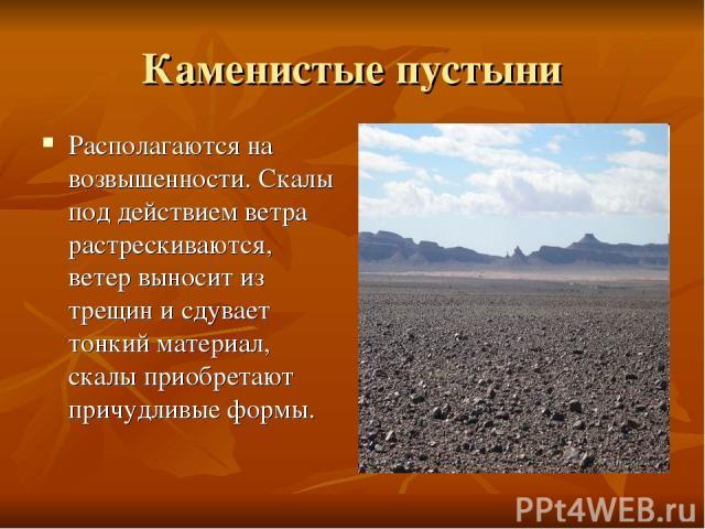 Каменистые пустыни Располагаются на возвышенности. Скалы под действием ветра растрескиваются, ветер выносит из трещин и сдувает тонкий материал, скалы приобретают причудливые формы.
