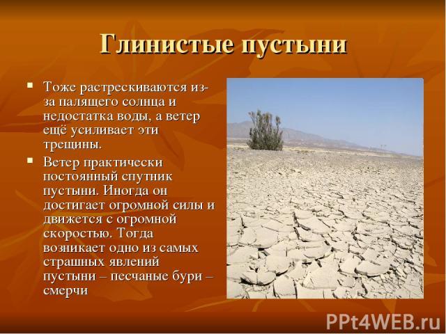 Глинистые пустыни Тоже растрескиваются из-за палящего солнца и недостатка воды, а ветер ещё усиливает эти трещины. Ветер практически постоянный спутник пустыни. Иногда он достигает огромной силы и движется с огромной скоростью. Тогда возникает одно …