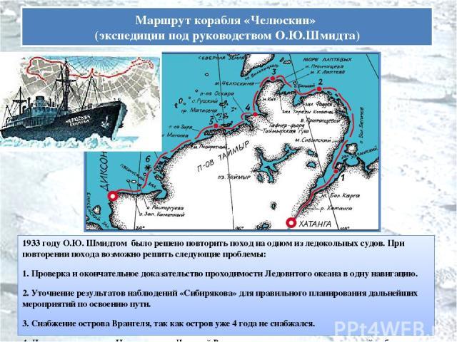1933 году О.Ю. Шмидтом было решено повторить поход на одном из ледокольных судов. При повторении похода возможно решить следующие проблемы: 1. Проверка и окончательное доказательство проходимости Ледовитого океана в одну навигацию. 2. Уточнение резу…