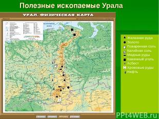 Полезные ископаемые Урала Железная руда Золото Поваренная соль Калийная соль Мед