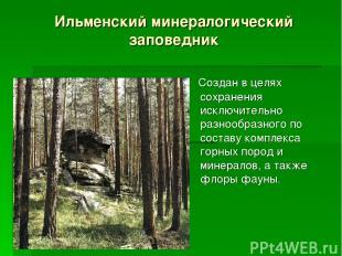 Ильменский минералогический заповедник Создан в целях сохранения исключительно р