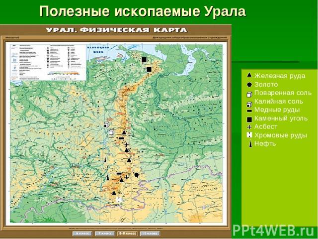 Полезные ископаемые Урала Железная руда Золото Поваренная соль Калийная соль Медные руды Каменный уголь Асбест Хромовые руды Нефть