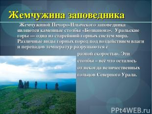 Жемчужина заповедника Жемчужиной Печоро-Илычского заповедника являются каменные