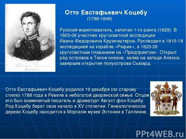 Отто Евстафьевич Коцебу (1788-1846) Русский мореплаватель, капитан 1-го ранга (1829). В 1803-06 участник кругосветной экспедиции Ивана Федоровича Крузенштерна. Руководил в 1815-18 экспедицией на корабле «Рюрик», в 1823-26 кругосветным плаванием на «…