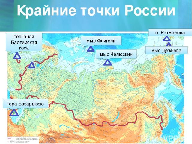 Крайние точки России мыс Флигели мыс Челюскин песчаная Балтийская коса гора Базардюзю мыс Дежнева о. Ратманова