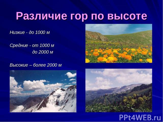 Различие гор по высоте Низкие - до 1000 м Средние - от 1000 м до 2000 м Высокие – более 2000 м