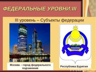 ФЕДЕРАЛЬНЫЕ УРОВНИ:III III уровень – Субъекты федерации Москва – город федеральн
