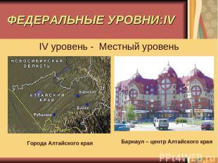 ФЕДЕРАЛЬНЫЕ УРОВНИ:IV IV уровень - Местный уровень Города Алтайского края Барнау