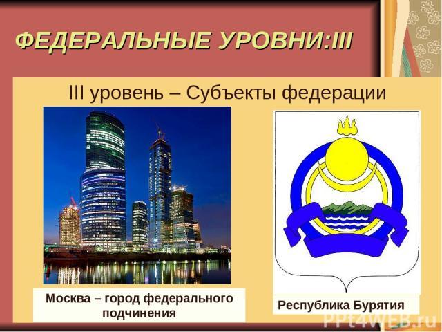 ФЕДЕРАЛЬНЫЕ УРОВНИ:III III уровень – Субъекты федерации Москва – город федерального подчинения Республика Бурятия