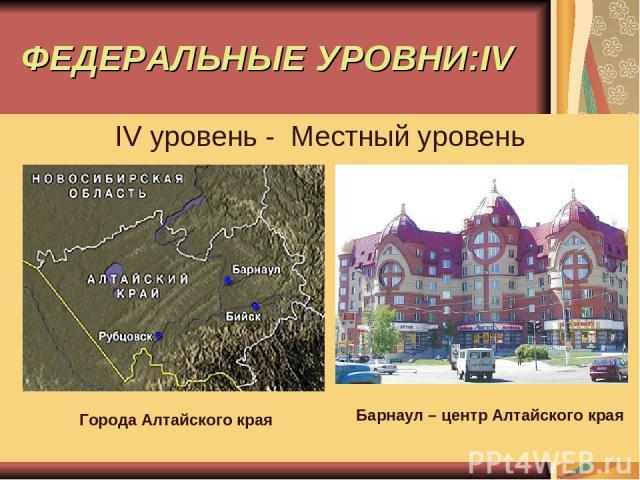 ФЕДЕРАЛЬНЫЕ УРОВНИ:IV IV уровень - Местный уровень Города Алтайского края Барнаул – центр Алтайского края