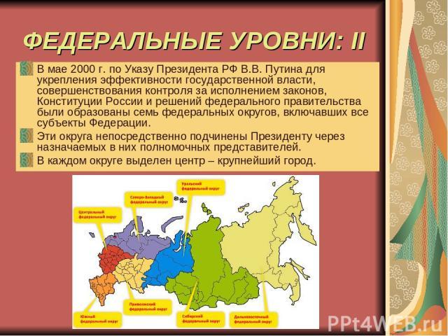 ФЕДЕРАЛЬНЫЕ УРОВНИ: II В мае 2000 г. по Указу Президента РФ В.В. Путина для укрепления эффективности государственной власти, совершенствования контроля за исполнением законов, Конституции России и решений федерального правительства были образованы с…