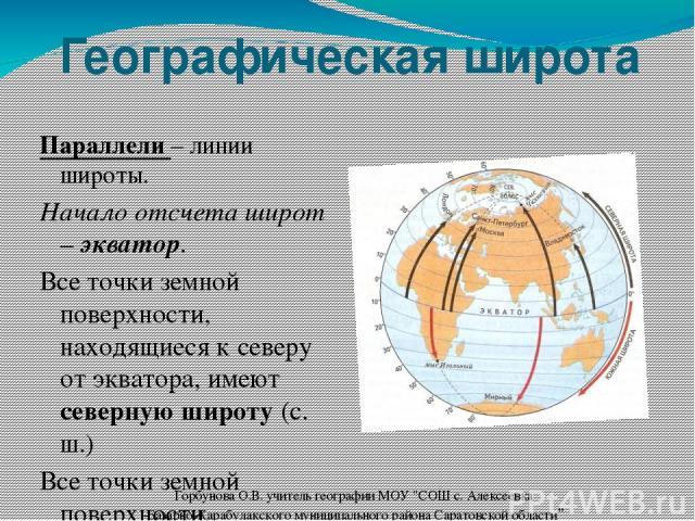 Географическая широта Параллели – линии широты. Начало отсчета широт – экватор. Все точки земной поверхности, находящиеся к северу от экватора, имеют северную широту (с. ш.) Все точки земной поверхности, находящиеся к югу от экватора, имеют южную ши…