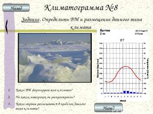 Климатограмма № 8 Задание. Определить ВМ и размещение данного типа климата Какие