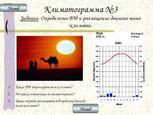 Климатограмма № 3 Задание. Определить ВМ и размещение данного типа климата. Каки