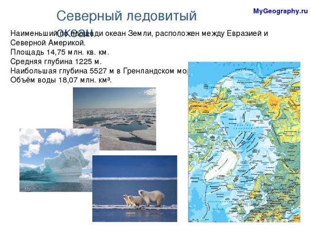 Северный ледовитый океан Наименьший по площади океан Земли, расположен между Евразией и Северной Америкой. Площадь 14,75 млн.кв.км. Средняя глубина 1225 м. Наибольшая глубина 5527 м в Гренландском море. Объём воды 18,07 млн. км³. MyGeography.ru