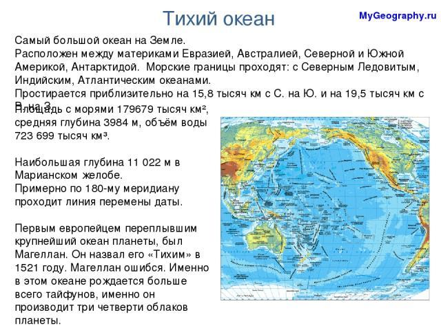 Тихий океан Самый большой океан на Земле. Расположен между материками Евразией, Австралией, Северной и Южной Америкой, Антарктидой. Морские границы проходят: с Северным Ледовитым, Индийским, Атлантическим океанами. Простирается приблизительно на 15,…
