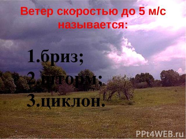 Ветер скоростью до 5 м/с называется: бриз; шторм; циклон.