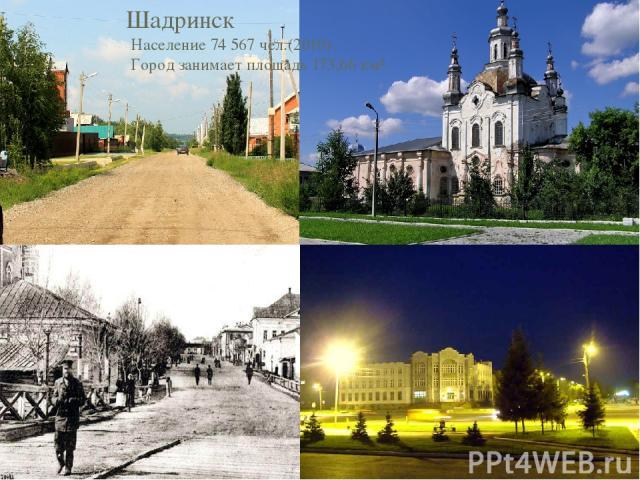 Шадринск Население 74 567 чел.(2010) Город занимает площадь 173,66 км².