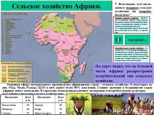 Сельское хозяйство Африки. ? Вспомните, чем отли-чается товарное сельское хозяйс