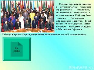 С целью укрепления единства и сотрудничества государств аф-риканского континента