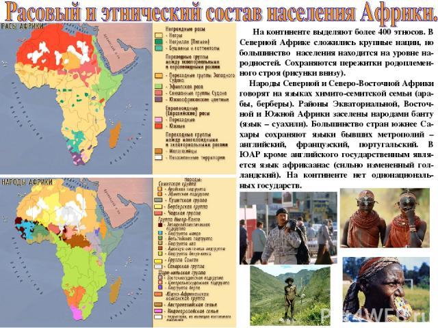 На континенте выделяют более 400 этносов. В Северной Африке сложились крупные нации, но большинство населения находится на уровне на-родностей. Сохраняются пережитки родоплемен-ного строя (рисунки внизу). Народы Северной и Северо-Восточной Африки го…