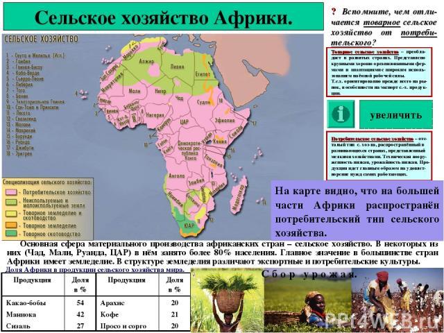 Сельское хозяйство Африки. ? Вспомните, чем отли-чается товарное сельское хозяйство от потреби-тельского? На карте видно, что на большей части Африки распространён потребительский тип сельского хозяйства. Основная сфера материального производства аф…