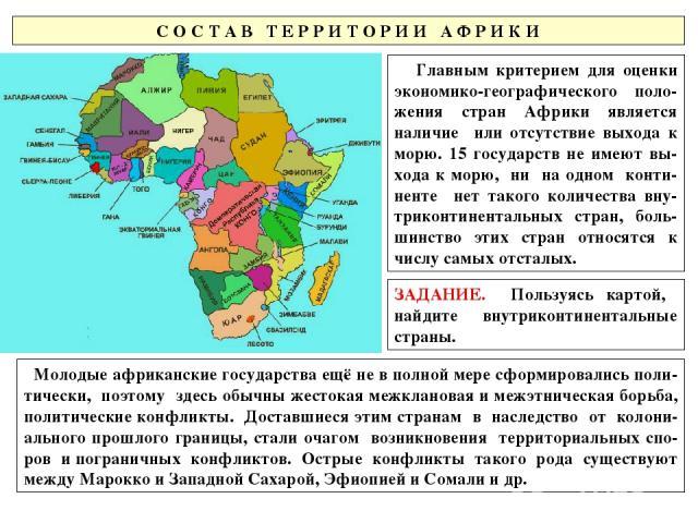 С О С Т А В Т Е Р Р И Т О Р И И А Ф Р И К И Главным критерием для оценки экономико-географического поло-жения стран Африки является наличие или отсутствие выхода к морю. 15 государств не имеют вы-хода к морю, ни на одном конти-ненте нет такого колич…