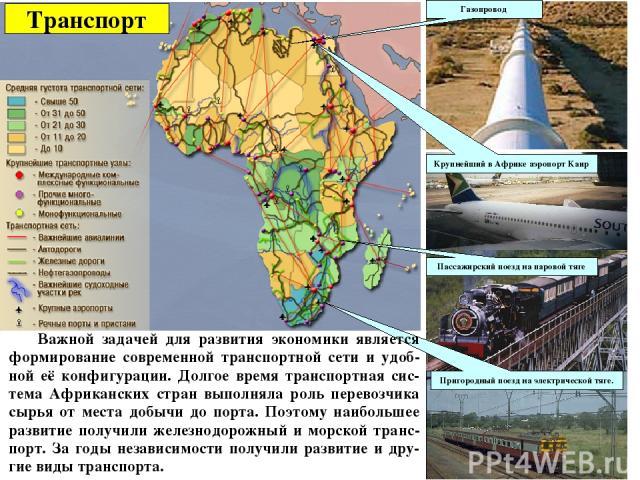 Транспорт Газопровод Пригородный поезд на электрической тяге. Крупнейший в Африке аэропорт Каир Пассажирский поезд на паровой тяге Важной задачей для развития экономики является формирование современной транспортной сети и удоб-ной её конфигурации. …
