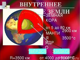 ВНУТРЕННЕЕ СТРОЕНИЕ ЗЕМЛИ ЗЕМНАЯ КОРА от 5 до 80 км МАНТИЯ 2900 км 3500°с ЯДРО Т