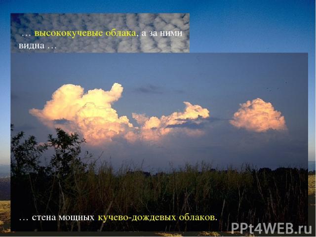 О приближении холодного фронта предупреждают … … перисто-кучевые облака, распространяющиеся с одной стороны неба. Их сменяют … … высококучевые облака, а за ними видна … … стена мощных кучево-дождевых облаков.