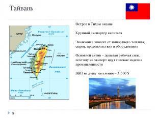 Тайвань Остров в Тихом океане Крупный экспортер капитала Экономика зависит от им