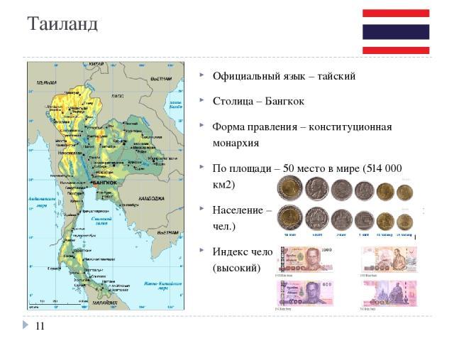 Таиланд Официальный язык – тайский Столица – Бангкок Форма правления – конституционная монархия По площади – 50 место в мире (514 000 км2) Население – 20 место в мире (свыше 70 млн чел.) Индекс человеческого развития – 0,722 (высокий)